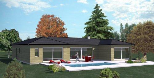 ConstructionFr  Plan Maison Ossature Bois Plain Pied Type