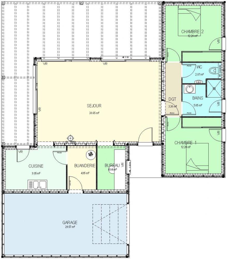 Construction 86 fr plan maison ossature bois plain pied for Plan maison t4 plain pied