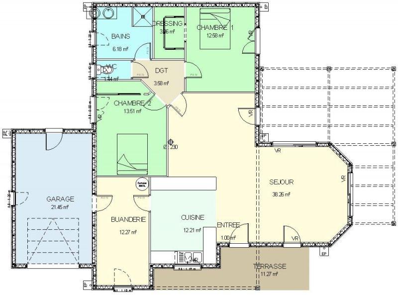 Célèbre CONSTRUCTION-86.FR > Plan maison ossature bois plain pied type 4 DU42