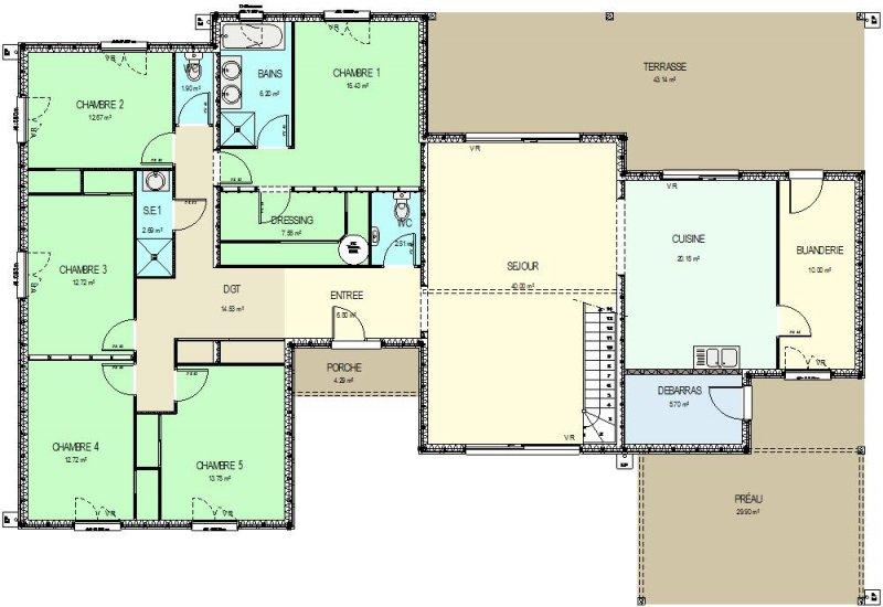 Construction 86 fr plan maison ossature bois avec for Surface minimum d une chambre