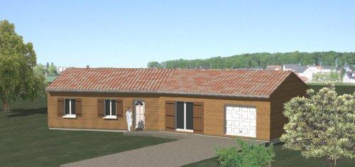 construction-86.fr > plan maison ossature bois plain pied type 4 - Plan Maison Bois Plain Pied 4 Chambres