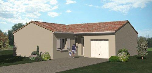 ce41ab13df899 Plan maison traditionnelle plain pied 89 m2 + garage